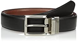 Tommy Hilfiger Mens Dress Reversible Belt with Polished Nickel Buckle, Size 32