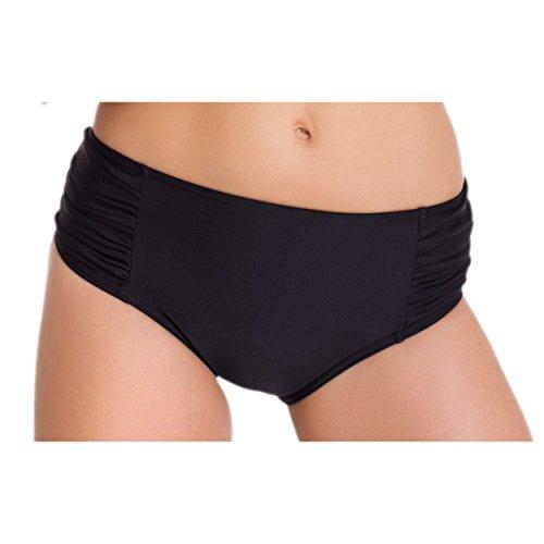 Aquarti Damen Hipster Bikini-Hose mit Raffungen Bikinislip Hüftpanty Unifarben Schwarz Blau Pink Rot, Farbe: Schwarz, Größe: 44