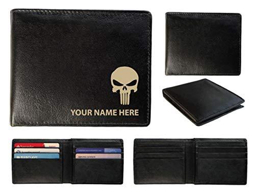Personalisierte Herren-Geldbörse Leder-Laser markiert mit Ihrem Namen und Skull Design, schwarz, Toscana