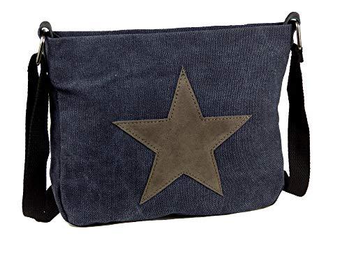 Moderne Canvas Style Umhängetasche - aufgenähter grauer Stern - Vernietung an der Seite - Maße 27 x 21 x 5 cm/ohne Schulterriemen - Damen Mädchen Teenager Tasche (dunkelblau)