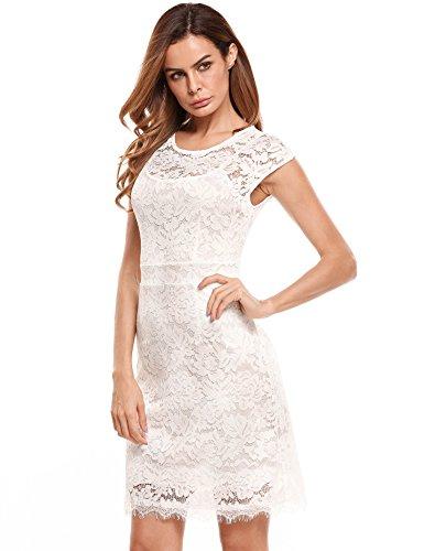 c5874a2c5c3918 Meaneor Damen Elegantes Spitzen Kleid Mini Sommerkleider Etuikleid  Partykleider Abendkleid mit Spaghettiträger Weiß
