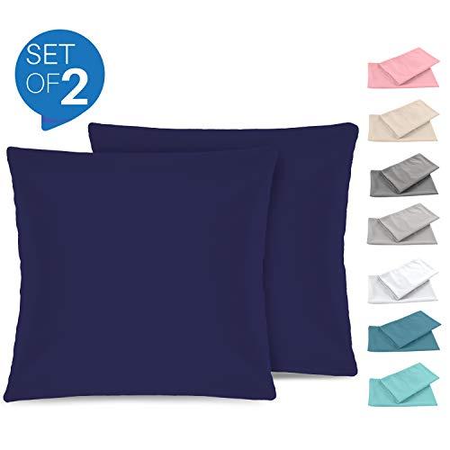Set de 2 x Taie d'oreiller 60 x 60 cm, Bleu Foncé, Microfibre (100% Polyester) - Taies d'Oreillers - Housse d'Oreiller Coussin pour le Lit - Taie Oreiller Qualité Confortable Hypoallergénique