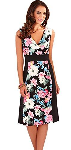 Pretty Ladies Tropical Flower Print Ärmelloses Kurzes Kleid mit Kontrast Seitenteile, 2Farben Schwarz / Pink