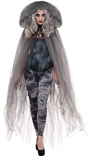 Tüll Umhang mit Kapuze Zubehör für Halloween-Kostüm Hexe Geist Zombie Engel Cape Mantel, Farbe:Grau