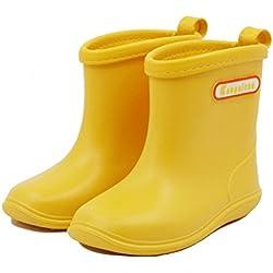 Botas De Agua Para Niñas Y Niños Botas Impermeables Antideslizantes Edad 1-6 Años Color Amarillo