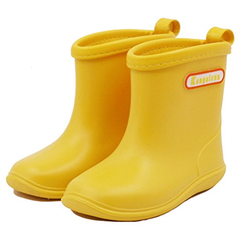 Kids Wellies Baby Rubber Rain Boots - Water Shoes Waterproof Wellington Lightweight Short Snow Boots Boys Girls Toddler, 1-6 Years (Blue Pink Yellow Navy)