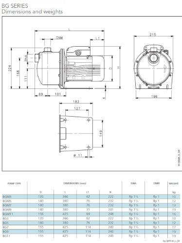 LOWARA BGM7 HP Selbstansaugende horizontale Kreiselpumpe 1.00 / 0.75 KW - 1x 230V - 5