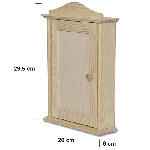 Creative Deco Wooden Key Cabinet Wall Box | 6 Hooks | 20 x 6 x 29.5 cm | Unpainted Perfect for Storage, Decorating & Decoupage
