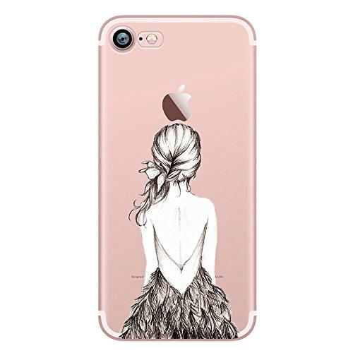 iPhone 7 Coque, UCMDA Silicone transparente Crystal Clear Housse Etui, Anti chocs Anti-rayures souple TPU Gel Bumper cas pour Apple iPhone 7 - Cute Panda Jolie fille