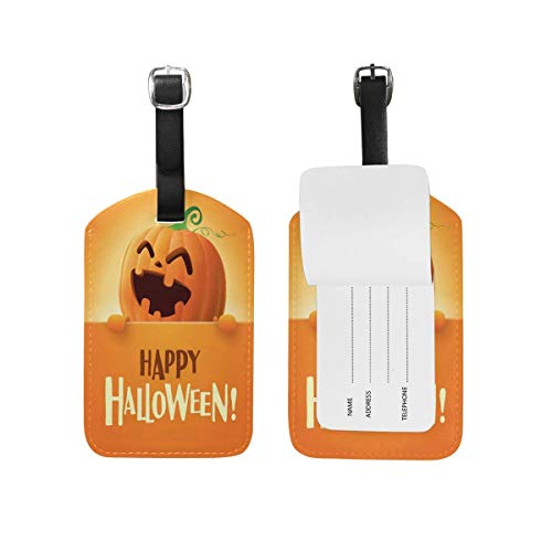 Happy Halloween Pumpkin Luggage Tags Travel Bag Tag Suitcase 2 Pieces Set