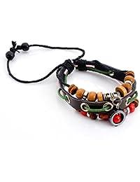 Lureme® múltiples encantos bohemios de cuero con cuentas capa de la vendimia pulsera de regalo (06002646)