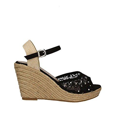 Cafenoir Cafenoir Xp906 Sandale Compensée Femme Noir