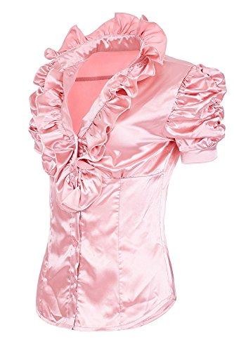 Laeticia Dreams Damen Satin Rüschen Volant Bluse Kurzarm XS S M L XL XXL,  Farbe Rosa e5151f0acf