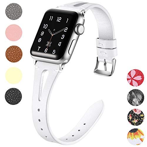Maledan Lederarmband für Apple Watch Armband 38mm 40mm, Schlank Echtes Leder Uhrenarmband - Atmungsaktives Ersatz Armband für Apple Watch Series 4 Series3 Series2 Series1, Weiß - Apple-weiß-kleidung