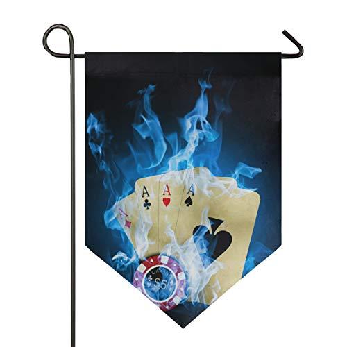 DEZIRO Garten-Flagge Casino Poker Blau Feuer Vertikal doppelseitig Yard Decor Bunte Design für alle Jahreszeiten & Urlaub, Polyester, 1, 12x18.5in