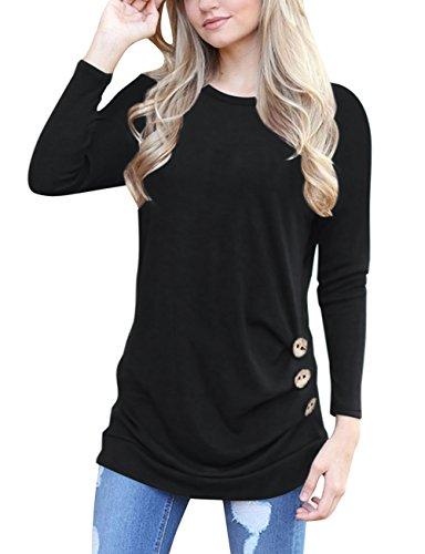 Yieune -  T-shirt - Maniche lunghe  - Donna A-Schwarz