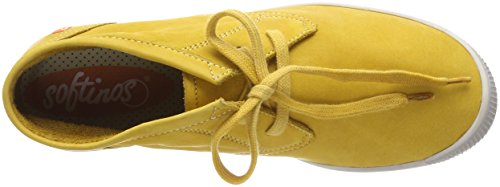Softinos Damen Indira Washed Hohe Sneaker Gelb (Yellow)