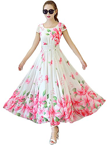 Clickedia Women Beautiful Digital Printed Faux Georgette Semi Stitched White Flower Gown