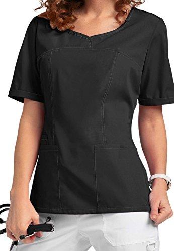 V-Neck Modern Fit Scrub Smart046 Tops (XS, Pewter) - Cherokee Uniform Scrub Top