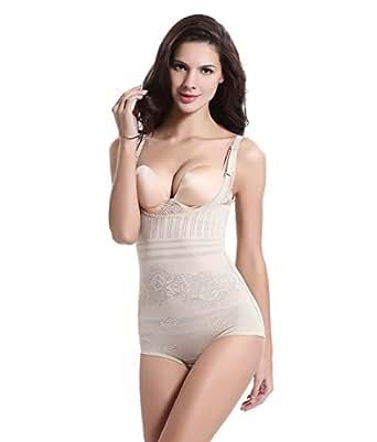 Tuopuda Shapewear Donna Intimo Modellante Body Snellente Corsetto Corpo Shaper (S (Waist 18.3-21.1 inch), beige)