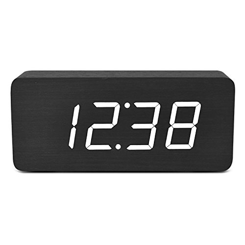 TXL Wood Alarm Clock Digital LED Wooden Bedside Desk Clock Sound Control  Temperature Time Display For Kids Bedroom Home Office Heavy Sleepers(Black,  ...