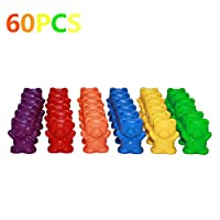 shaoyanger Counting Bears With Stacking Cups - Montessori Rainbow Matching Game, Educational Color Sorting Toys For Toddlers Baby,Toy Storage and Learning Card (A)