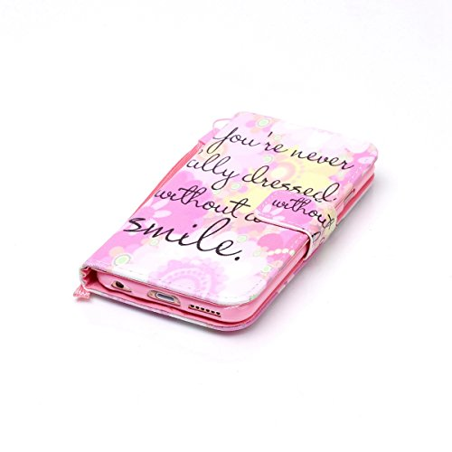 SainCat iPhone 6 Plus Custodia in Pelle, Anti-Scratch Protettiva Caso Custodia Per iPhone 6S Plus, Elegante Creativa Dipinto Pattern Design PU Leather Flip Ultra Slim Sottile Morbida Portafoglio Custo Sorriso Rosa