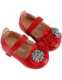 Miyanuby Zapatos para Bebe Niña   Zapatos Princesa Suela de Goma Antideslizante Flor Zapatos de Vestir  …