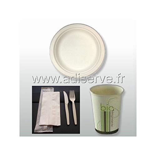 Pack bio simple 50 personnes : 50 assiettes rondes fibre de canne à sucre, 50 kits couverts 3 en 1 et 50 gobelets, jetables et biodégradables