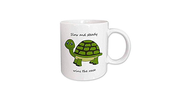 Slow And Steady Wins The Race Turtle Mug 11 Ounce Green A 301 400ml Amazon Co Uk Kitchen Home