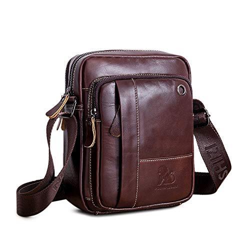 UBaymax Leder Schultertasche Herren, Kleine echt Leder Wasserdicht Umhängetasche Handtasche Ledertasche, Vintage Business Messenger Satchel Bag, Dunkelbraun