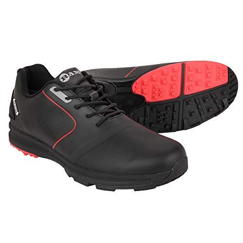 Ram Golf Player Mens Waterproof Golf Shoes -Black/Red- UK 9