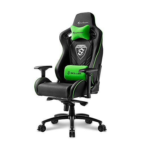 Sharkoon Skiller SGS4 Komfortabler Gaming-Stuhl (mit extragroßer Sitzfläche, 150kg belastbar, Kunstleder, Aluminiumfußkreuz, 75mm Rollen mit Bremsfunktion, 4-Wege-Armlehnen, Stahlrahmen) schwarz/grün