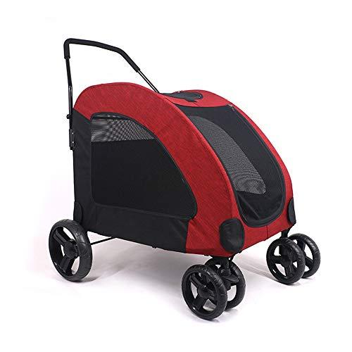 MMUY Vierrad-Kinderwagen für Katzen, Hunde und mehr, zusammenklappbarer Kinderwagen mit Gitterfenster,Red -