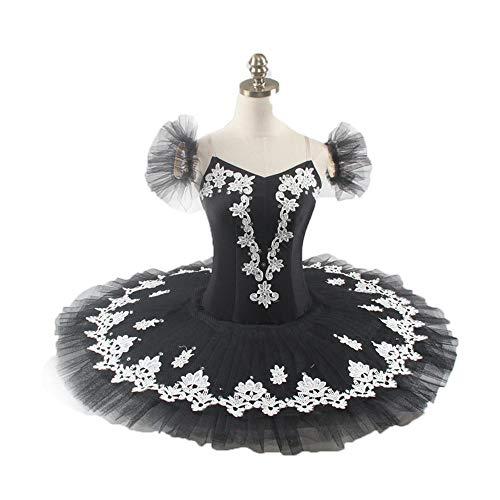QSEFT Professionelle Ballett Tutu Rock Schwarz Silber Ballerina Leistung Tutu Kleid Frauen Klassische Platte Pancake Tutu Kostüm Erwachsene/Kinder,Childsize8