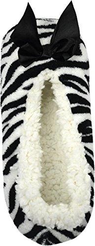 Flauschige Damen Hausschuhe mit Schleife Zebra/White