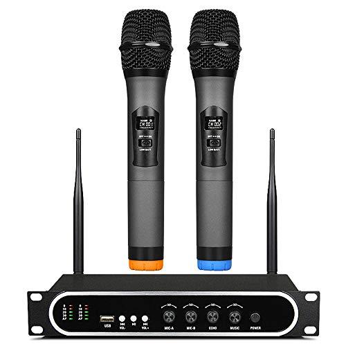 E-kinds Ultra-Hochfrequenz-Funkmikrofon mit eingebautem Bass-Echo-Mikrofon-Verstärker für MP3-Player KTV Song Room,Black 12-kanal-handheld-empfänger