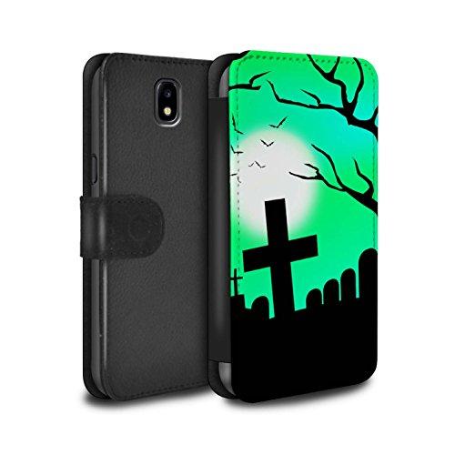 Stuff4® PU-Leder Hülle/Case/Tasche/Cover für Samsung Galaxy J7 2017/J730 / Unheimlich Friedhof Muster/Halloween Szene Kollektion