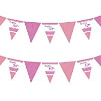 50th Perfectly Pink Girls Classy Happy Birthday, Anniversary, Special Occasion, Party Decoration Bunting Flags One Sided - 12FT (1 Pack)