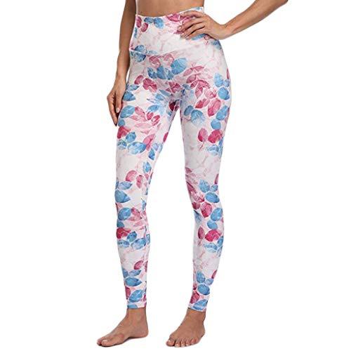 Amcool Laufhose Damen mit Tasche lang - Leggins Stretch-Hose Lauf-Tights Sport Jogginghose Workout Fitness für Yoga Caprihose Printed