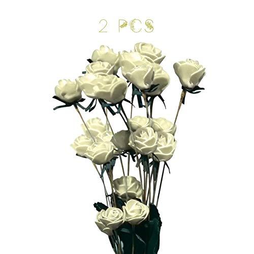 Mingzuo Künstliche Blumen, 3 Köpfe, Pfingstrose, Seide, Kunstblume für Party, Zuhause, Garten, Dekoration, weiß, 15 flowers (Künstliche Blumen Für Die Beerdigung)