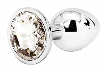 Nuovo Jewelled Il giro Butt Fun Plug Roleplay giocattolo del metallo Plug coda di piccole dimensioni di colore argento (S, BIANCA)