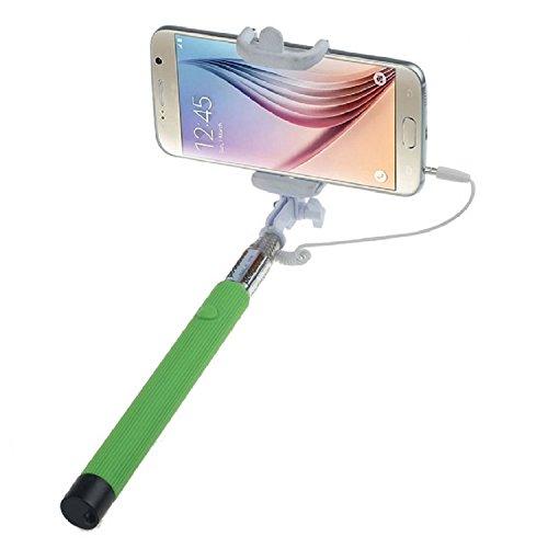 ARTLU® Selfie-Stange Selfie-Stick Teleskop-Stange Selfie Stick in 9 verschiedenen Farben Monopod Selfie Einbeinstativ Ausziehbare Stick (Nein Bluetooth) mit Einstellbaren Klemme für Smartphones, iPhone, Samsung, Huawei, LG, Sony--Grün