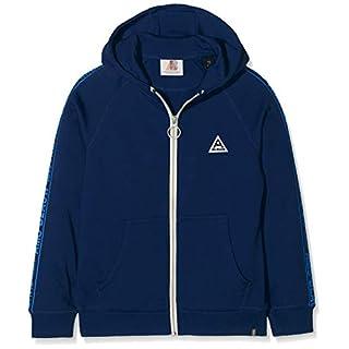 Scotch & Soda Shrunk Jungen Sweatshirt Hooded Zip Through Sweat in Cotton Poly with Printed Tapes Blau (Blue Summit 2674) 140 (Herstellergröße: 10)