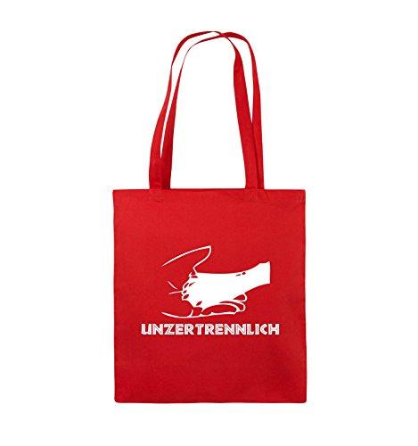 Comedy Bags - UNZERTRENNLICH - HAND PFOTE Hundeliebe - Jutebeutel - lange Henkel - 38x42cm - Farbe: Schwarz / Silber Rot / Weiss