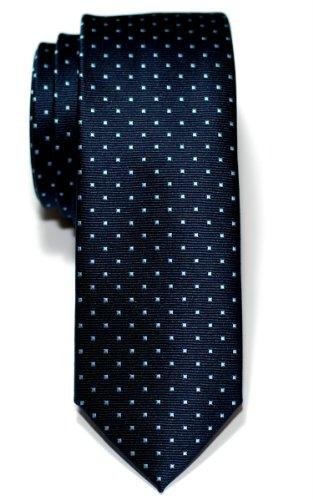 Corbata de microfibra fina con puntitos para hombres de Retreez - Azul marino con el punto azul claro