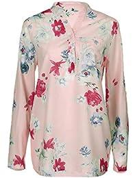 Camisa de Mujer, Blusa de Manga Larga con Estampado Floral de chifón más Grande Camisa