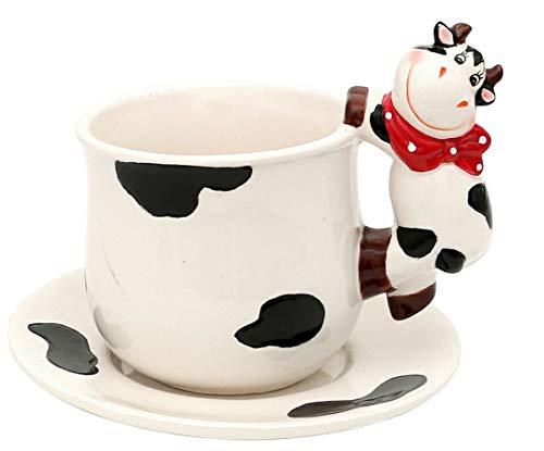 mik Kuh Verschiedene Varianten zur Auswahl Küche Geschirr Geschenkidee (Tasse und Teller Kuh) ()