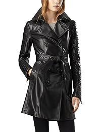 77695ae377b2 Number 7 Manteau de Cuir Femme Veste Trench Noir