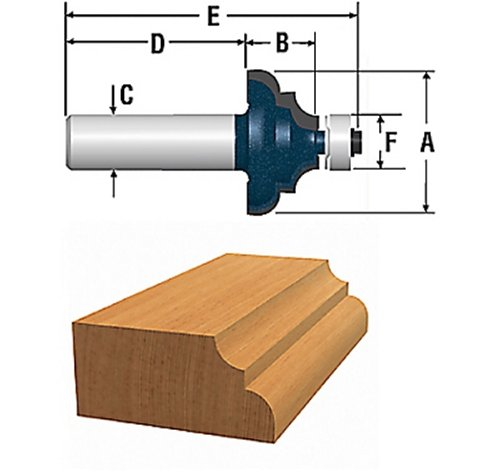 Bosch 85604MC 1-3/8-Inch Diameter 5/8-Inch Cut Carbide Tipped Cove & Bead Router Bit 1/4-Inch Shank With Ball Bearing by BOSCH (Router Bead Bit)